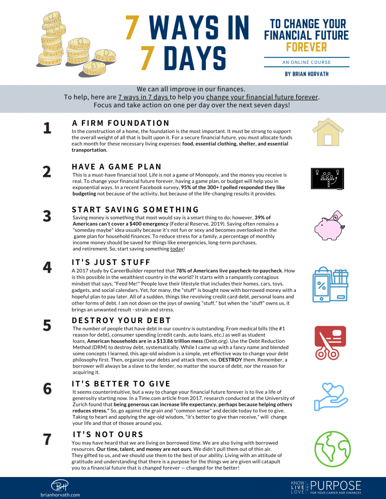 7 Ways in 7 Days to Change Your Financial Future Forever Infographic
